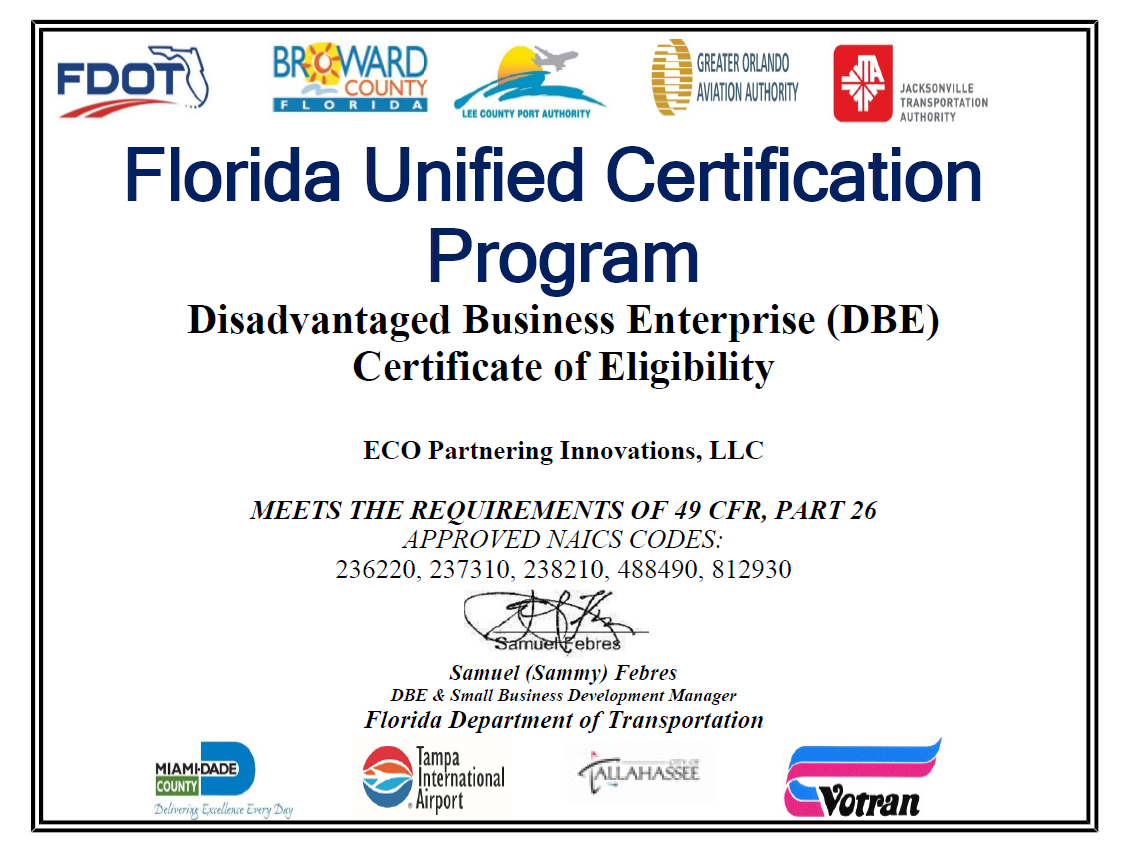 Eco-Partnering-FDOT-DBE-Certification